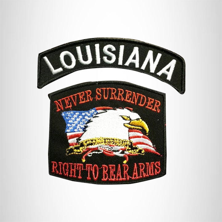 LOUISIANA and NEVER SURRENDER Small Patches Set for Biker Vest