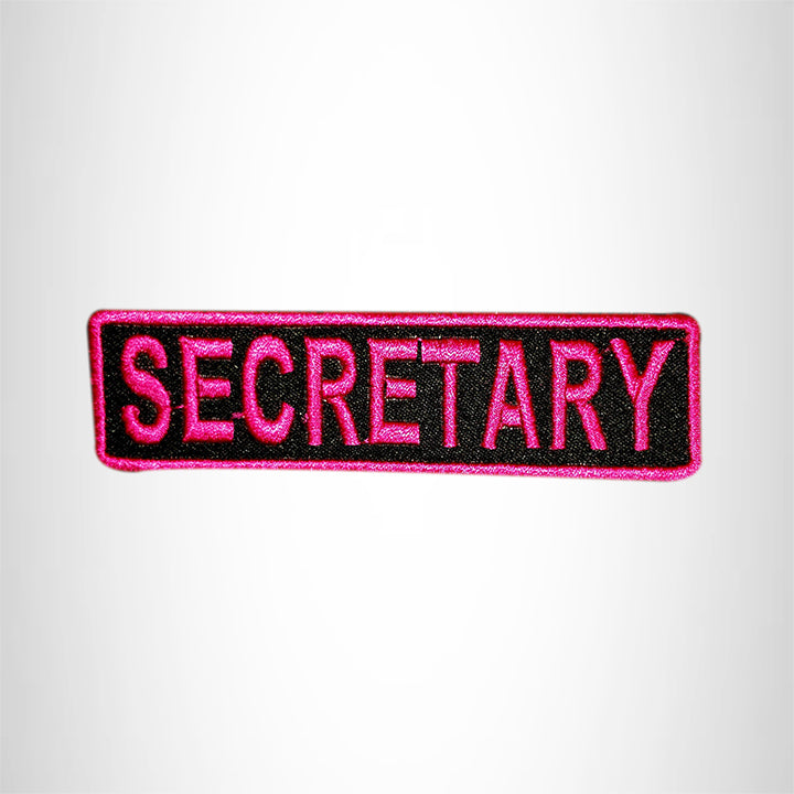 SECRETARY Pink on Black Small Patch for Vest Jacket SB595