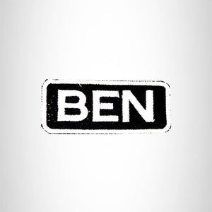 BEN White on Black Iron on Name Tag Patch for Biker Vest NB201