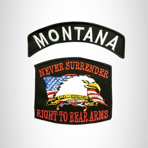 MONTANA and NEVER SURRENDER Small Patches Set for Biker Vest