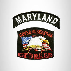 MARYLAND and NEVER SURRENDER Small Patches Set for Biker Vest