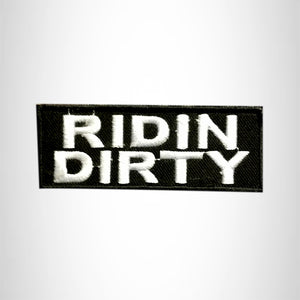 RIDIN DIRTY White on Black Small Patch Iron on for Vest Jacket SB597