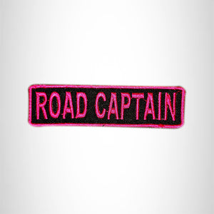 ROAD CAPTAIN Pink on Black Small Patch Iron on for Vest Jacket SB596