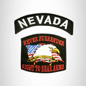 NEVADA and NEVER SURRENDER Small Patches Set for Biker Vest