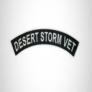 DESERT STORM VET White on Black Iron on Top Rocker Patch for Biker Vest Jacket
