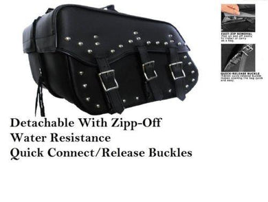 Genuine Cowhide Leather Saddlebags 3 strap quick release zip off studded-STURGIS MIDWEST INC.