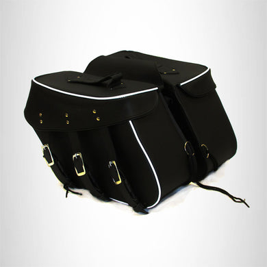 Motorcycle Detachable Saddlebag Set for Harley Dyna 3 Strap Plain