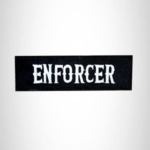 ENFORCER White on Black Small Patch Iron on for Vest Jacket SB628