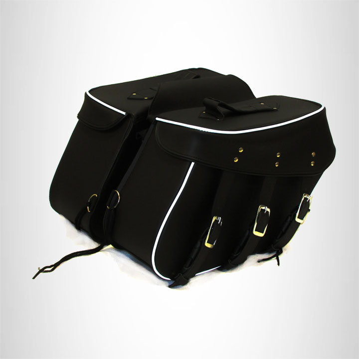 Motorcycle Genuine Cowhide Leather Saddlebags Set Detachable  Studded