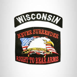 WISCONSIN and NEVER SURRENDER Small Patches Set for Biker Vest