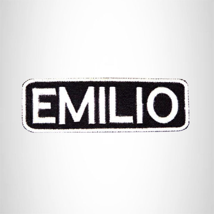 Emilio Black on White Name Tag Iron on Patch for Biker Vest and Jacket NB216