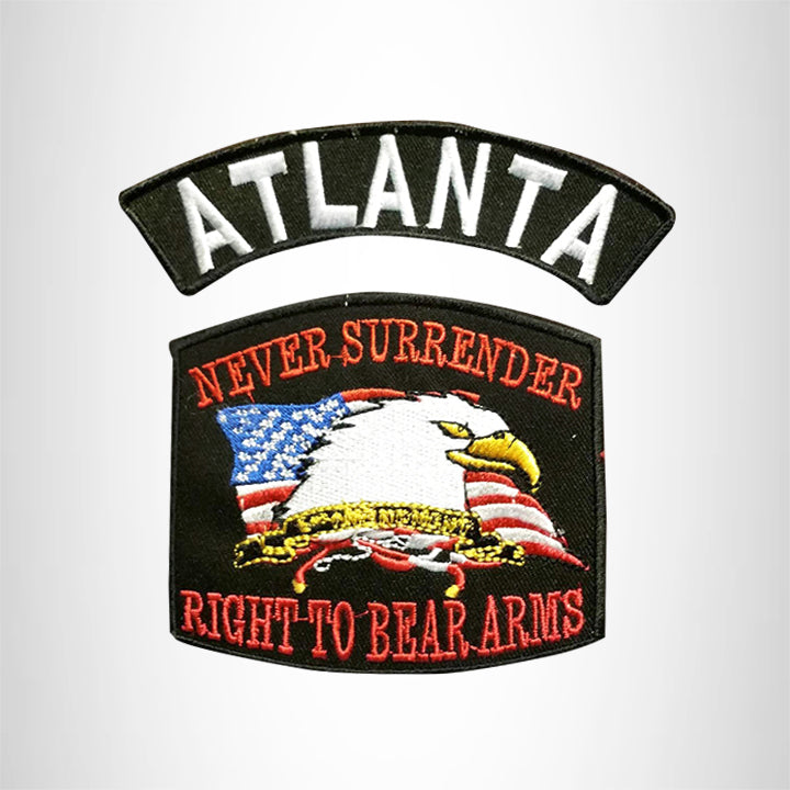 ATLANTA and NEVER SURRENDER Small Patches Set for Biker Vest