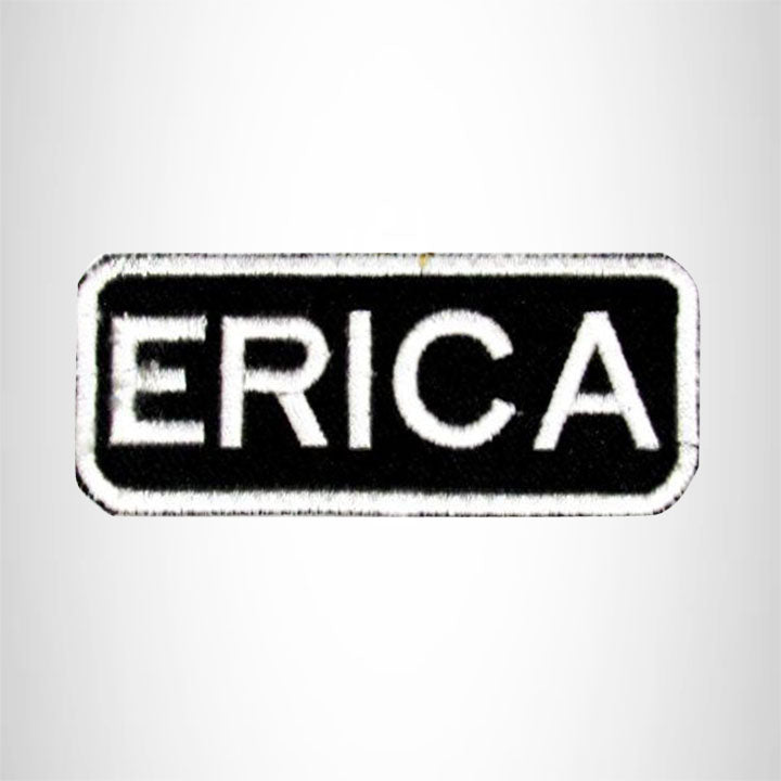 Erica White on Black Iron on Name Tag Patch for Biker Vest NB117