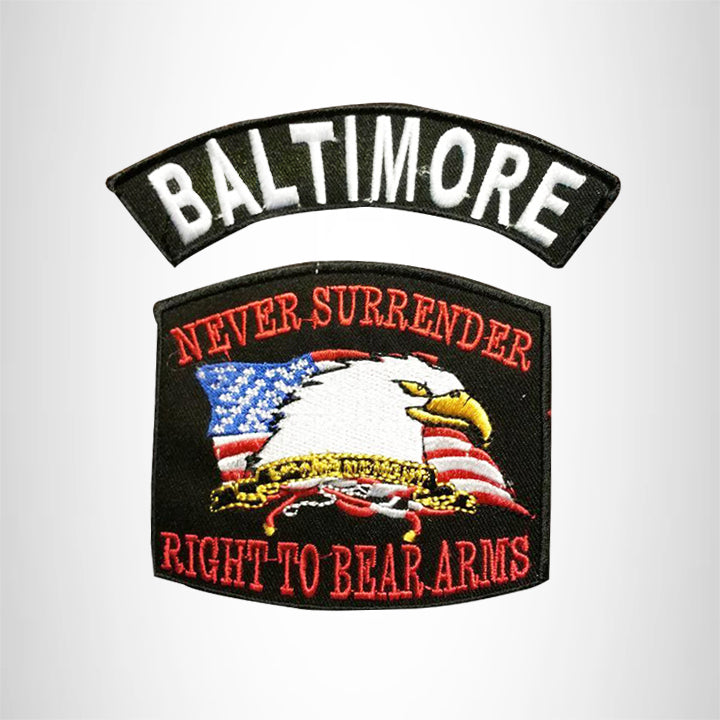 BALTIMORE and NEVER SURRENDER Small Patches Set for Biker Vest