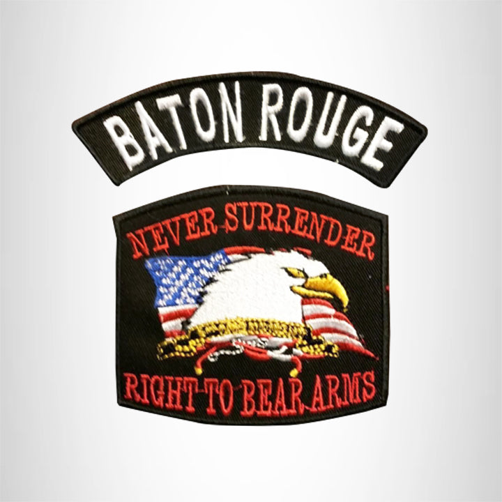 BATON ROUGE and NEVER SURRENDER Small Patches Set for Biker Vest