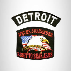 DETROIT and NEVER SURRENDER Small Patches Set for Biker Vest