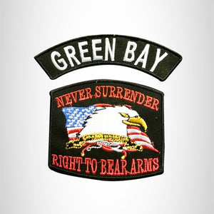 GREEN BAY and NEVER SURRENDER Small Patches Set for Biker Vest