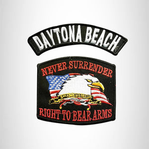DAYTONA BEACH and NEVER SURRENDER Small Patches Set for Biker Vest