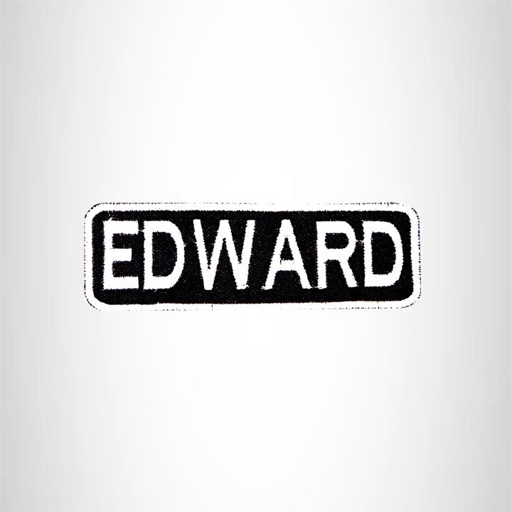 EDWARD Black and White Name Tag Iron on Patch for Biker Vest and Jacket NB215