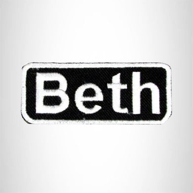 Beth White on Black Iron on Name Tag Patch for Biker Vest NB109