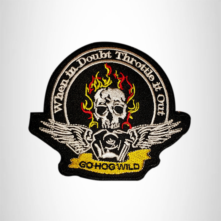 GO HOG WILD Flaming Skull Small Patch Iron on for Vest Jacket SB612