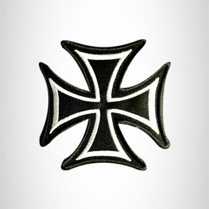 MALTESE CROSS White on Black Small Patch Iron on for Vest Jacket SB616