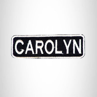 CAROLYN Black and White Name Tag Iron on Patch for Biker Vest and Jacket NB281