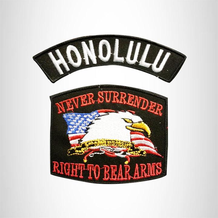 HONOLULU and NEVER SURRENDER Small Patches Set for Biker Vest