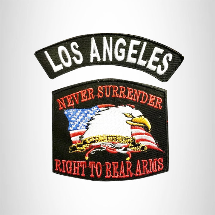 LOS ANGELES and NEVER SURRENDER Small Patches Set for Biker Vest