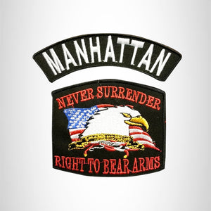 MANHATTAN and NEVER SURRENDER Small Patches Set for Biker Vest