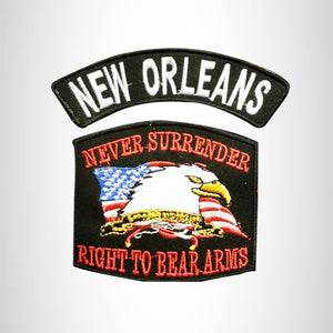 NEW ORLEANS and NEVER SURRENDER Small Patches Set for Biker Vest