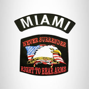 MIAMI and NEVER SURRENDER Small Patches Set for Biker Vest