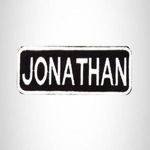 JONATHAN Black and White Name Tag Iron on Patch for Biker Vest and Jacket NB228