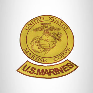 US MARINES Brown on Gold 2 Patches Set Iron on for Biker Vest and Jacket