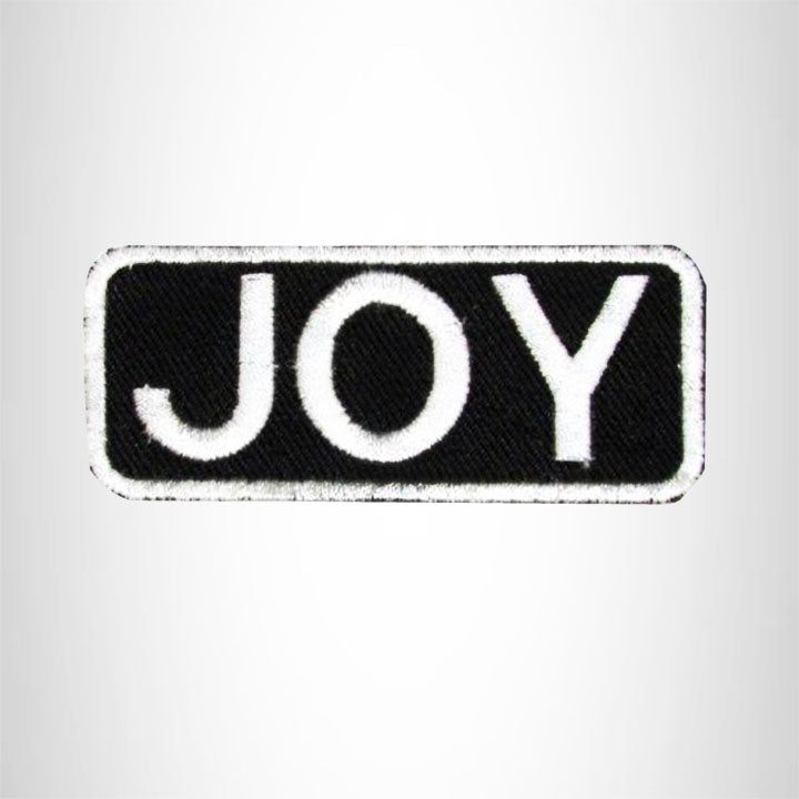 Joy White on Black Iron on Name Tag Patch for Biker Vest NB120