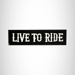 LIVE TO RIDE White on Black Small Patch Iron on for Vest Jacket SB625