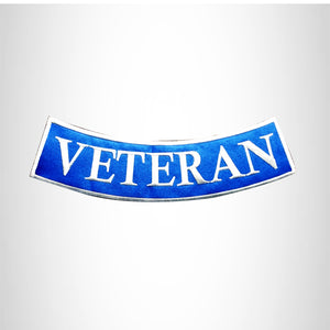 VETERAN White on Blue with Boarder Bottom Rocker Patch for Vest