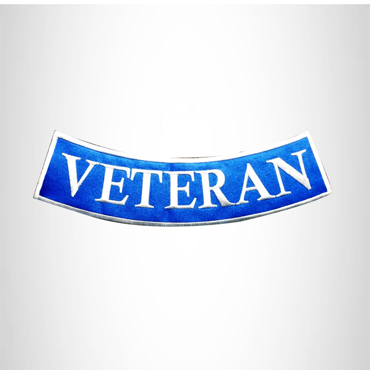 VETERAN White on Blue with Boarder Bottom Rocker Patches for Vest