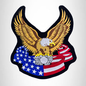 SCREAMING EAGLE WITH FLAG Iron on Center Patch for Biker Vest CP180