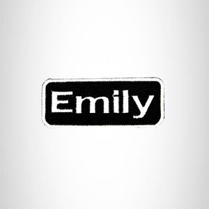 Emily White on Black Iron on Name Tag Patch for Biker Vest NB114