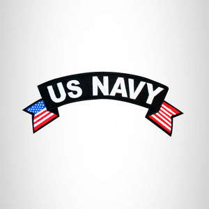 U.S. Navy White on Black with Boarder Top Rocker Iron on Patch for Motorcycle Biker Vest TR364