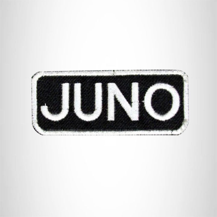 Juno White on Black Iron on Name Tag Patch for Biker Vest NB121