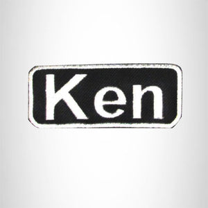 Ken White on Black Iron on Name Tag Patch for Biker Vest NB173