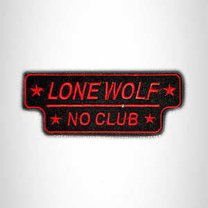 LONE WOLF NO CLUB Red on Black Small Patch Iron on for Vest SB630