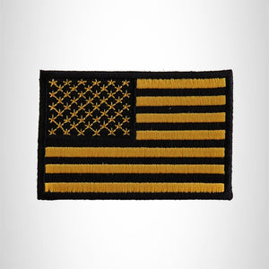 USA YELLOW AND BLACK FLAG Small Patch Iron on for Vest Jacket SB636