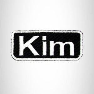 Kim White on Black Iron on Name Tag Patch for Biker Vest NB125