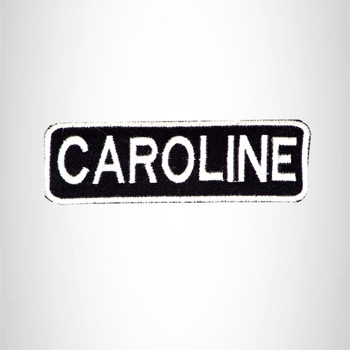 CAROLINE Black and White Name Tag Iron on Patch for Biker Vest and Jacket NB280