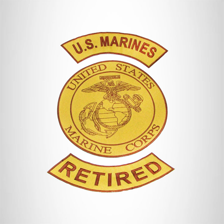 MARINES RETIRED Brown on Gold Iron on 3 Large Back Patches Set for Biker Vest Jacket