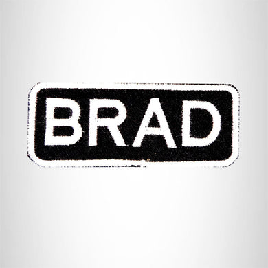 BRAD White on Black Iron on Name Tag Patch for Biker Vest NB202