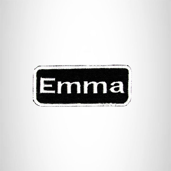 Emma White on Black Iron on Name Tag Patch for Biker Vest NB116